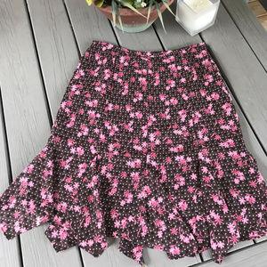 LOFT pink & brown floral skirt ~ EUC!